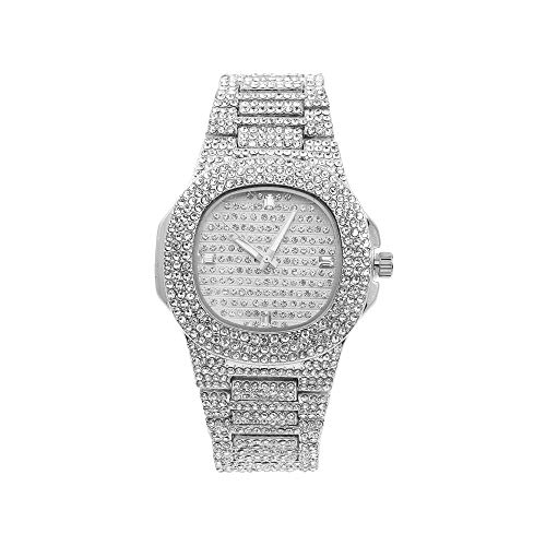 (Ladies Flawless Hip Hop Nauti Designer Look Full Diamond Blinged Out Silver Watch Case, Dial and Bracelet - ST10266 Silver)