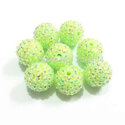 (Pukido 12mm/14mm/16mm/18mm/20mm Pastel/Spring Color AB Chunky Resin Rhinestone Beads - (Color: Apple Green -10, Item Diameter: 18mm 200pcs per Bag))
