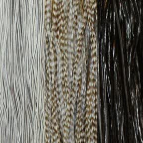 """""""Salt and Pepper"""" Black & Gray Mix Feather Hair Extension Bundle"""