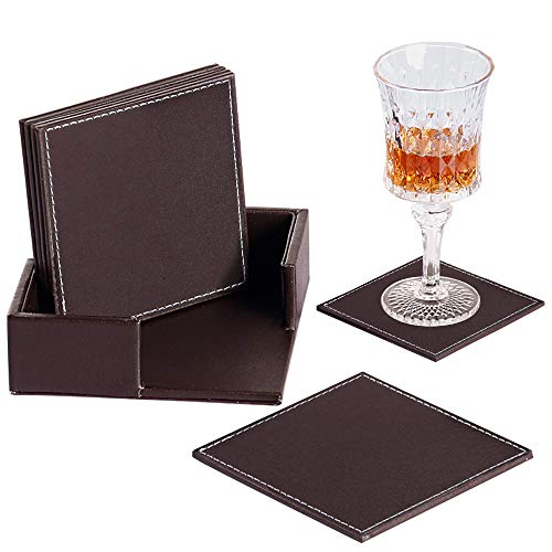 Brown Coaster - Coasters for Drinks with Holder, Set of 6 PU Leather Drink Coasters, Square Coffee Cup Pads Housewarming Gift Idea Brown Table Mats for Bar/Home Decoration/Office/Kitchen/Dinning Room