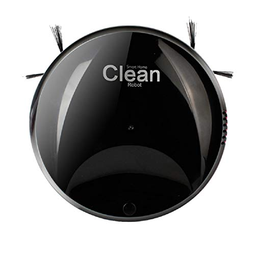 Rechargeable Automatic Smart Robot Vacuum Cleaner Edge Cleaning Suction Sweeper-6cm Thin Body-Significantly Reduces Vacuuming Noise (Black)