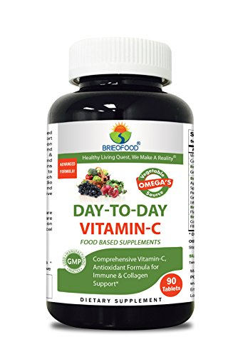 Brieofood Vitamin C 1000 mg 90 Tablets, Food Based daily Vitamin C supplement made with Vegetable Source Omegas, probiotics and herbal (Food Based Vitamin C)