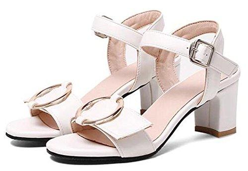 Easemax Womens Elegant Buckle Mid Chunky Heels Sandals Shoes White bXNZKK