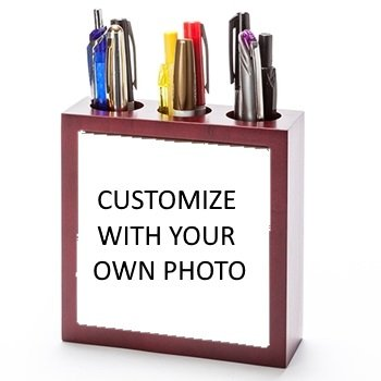 Photo Pen Holder (Wooden Pen and Pencil Holder - Personalized with Your Own Name, Photo, Logo or Text!)