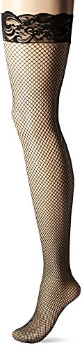Dreamgirl Fishnet (Dreamgirl Women's Fishnet Thigh-High Stockings with Silicone Lace Top, Black, One Size)