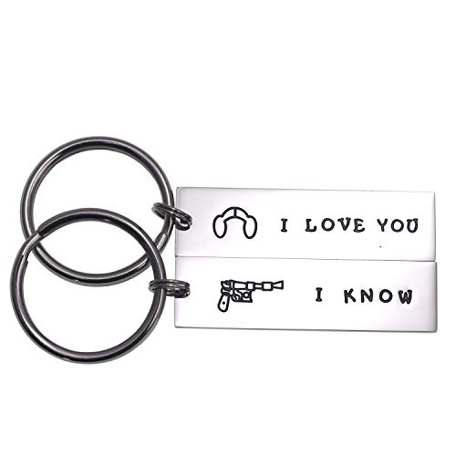 LParkin Couple Gifts for Him and Her Wedding Gifts Star Wars Jewelry I Love You I Know Keychain Girlfriend Boyfriend Husband Wife (I Love You I Know)]()