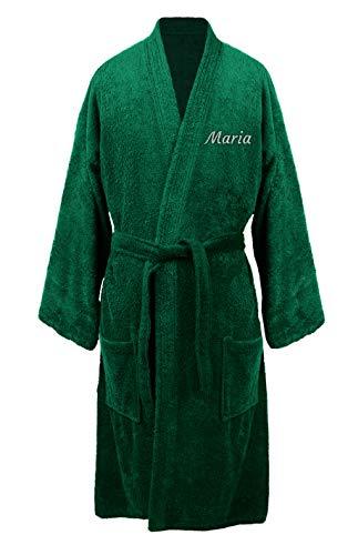 Turkuoise Women's Terry Cloth Robe Turkish Cotton Terry Kimono Collar (Custom-XX-Large, Green) ()