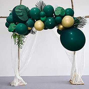 30pcs 12 Inch Green White Latex Balloons with Confetti Balloon Ideal for Baby Shower Summer Party Pool Hawaiian Boy Birthday Party Decorations Jungle Safari Dinosaur Theme Party Supplies