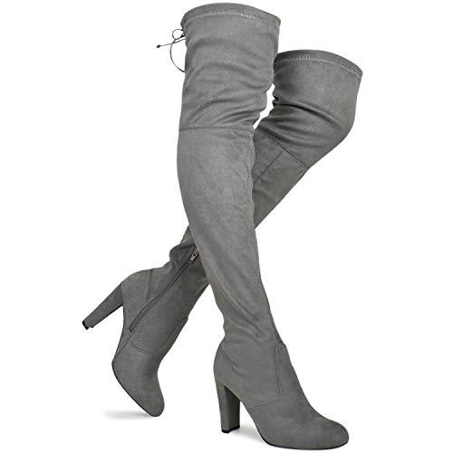 (Premier Standard Women's Over The Knee Boot - Sexy Over The Knee Pullon Boot - Trendy Low Block Heel Shoe - Comfortable Easy Heel Boot, TPS Amaya-01 Grey Size 8)