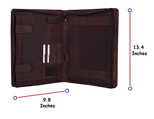 Supreme Business Portfolio By Rustic Town | Professional Organizer Gift for Men  Women | Durable Leather Padfolio | Easy To Carry With A Zippered Clo…