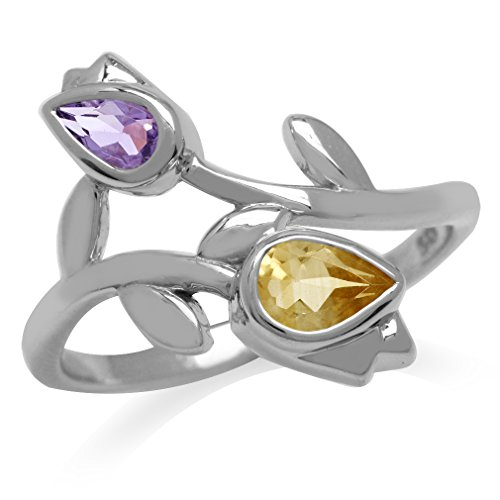 Natural Amethyst & Citrine White Gold Plated 925 Sterling Silver Tulip/Flower Ring Size 7]()