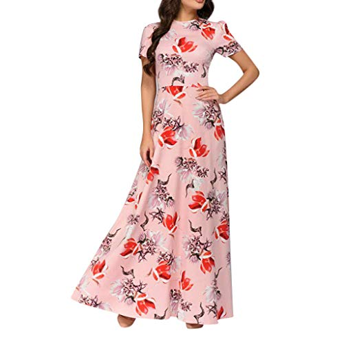 Womens Empire Waist Floral Print Long Dress Short Sleeve Round Neck Slim Casual Maxi Dresses (L, Pink)
