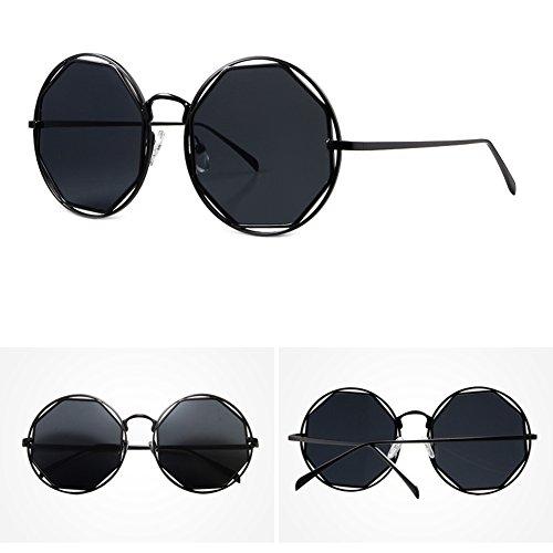 Azul Versión poligonal Gris Polvo marco de Personalidad UV coreana Negro callejera Color Moda Gran Negro Gafas Moda sol Mujeres Gris Protección metal de HLMMM xZwFqXHRq