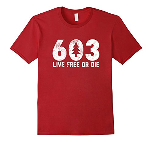 Mens Live Free Or Die  603 Tree New Hampshire Area Code T Shirt Xl Cranberry