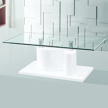 Gravity Decor The Infinity Tempered Glass Coffee Table With White Glossy Base