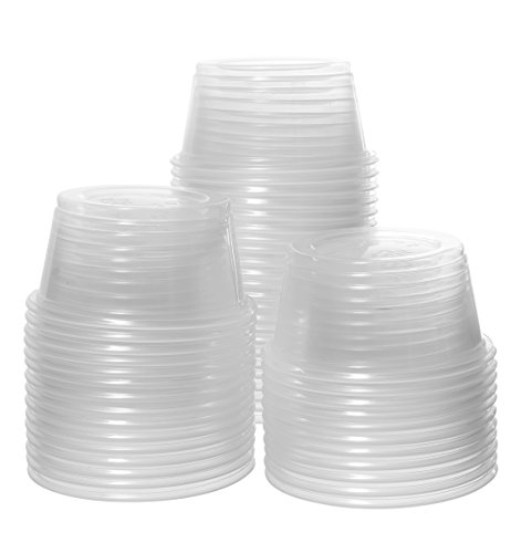 Crystalware, Disposable 2oz. Plastic Portion Cups (No Lids) Condiment Cup, Jello Shot, Souffl� Portion, Sampling Cup, 100 Cups Clear (100 Cups)