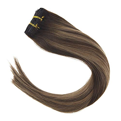 Sunny 16inch Human Hair Extensions Balayage Clip on Extensions Colored #4 Dark Brown Fading to #27 Caramel Blonde with #4 Full Set Clip in Hair Extensions Remy Human Hair 120g/7pcs (Dark Brown Hair To Caramel Colored Hair)