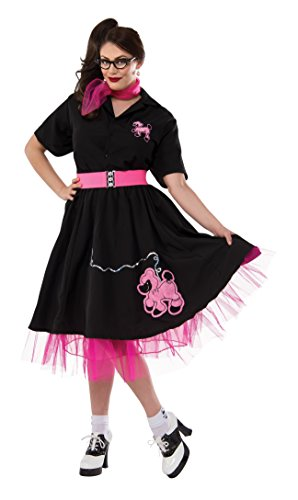 Rubie's Costume Co Women's Plus-Size 50's Black Poodle Skirt, Black, (50's Halloween Costumes Plus Size)