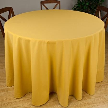Riegel Premier Hotel Quality Tablecloth, 132'' Round, Gold
