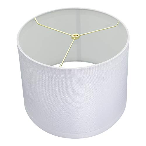 Large Mesh Off White Lamp Shades, Alucset Drum Fabric Big Lampshades for Table Lamp and Floor Light,12x14x10 inch,Natural Linen Hand Crafted,Spider (White) (Drum White Lamp Shade)