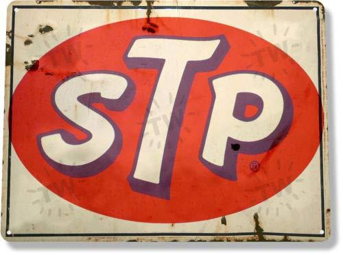 TIN Sign STP Motor Oil Gas Oil Garage Auto Shop Rustic Metal -