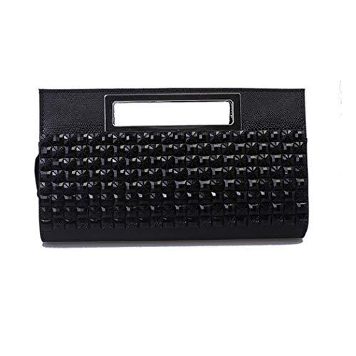 EROUGE Evening Handbags Clutch Rhinestone Purse Black Leather Designer Women Luxury for Handbags SSqwr7