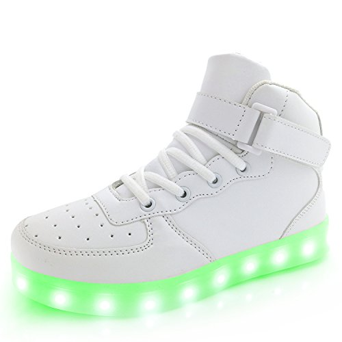 APTESOL Kids Youth LED Light Up Sneakers Boys Girls High Tops Cute Cool Flashing Shoes Halloween Xmas School Party Dancing Shoes, White, Euro 42=US 9.5 Youth]()