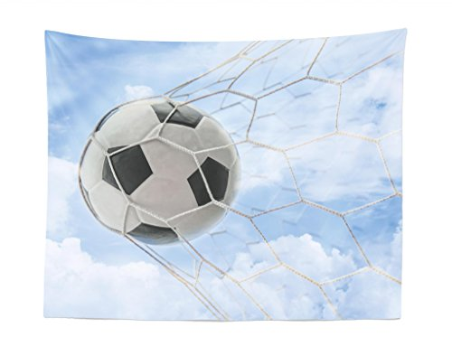 Lunarable Sports Tapestry, Soccer Ball Goal with Cloudy Sky Summertime Outdoor Activities Sporting, Fabric Wall Hanging Decor for Bedroom Living Room Dorm, 28 W X 23 L inches, Pale Blue Black White by Lunarable