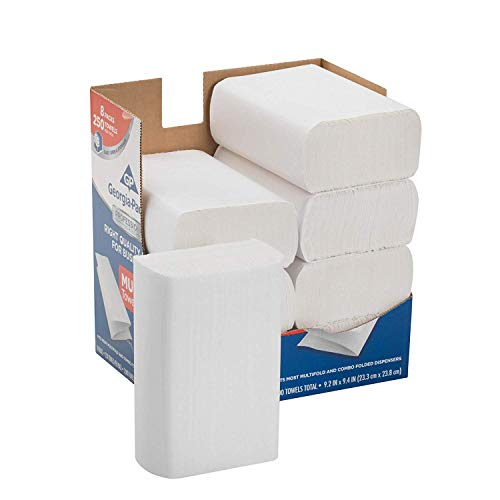 Professional Series Premium 1-Ply Multifold Paper Towels by GP PRO, White, 2212014, 250 Towels Per Pack, 8 Packs Per Case ()
