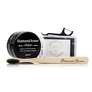 Charcoal Toothpaste - 100% Safe & Natural Activated Powder - Detoxifies Mouth and Teeth - Safe On Sensitive Teeth W/50 Piece Floss/Tooth Picks +Toothbrush Oral Care Set