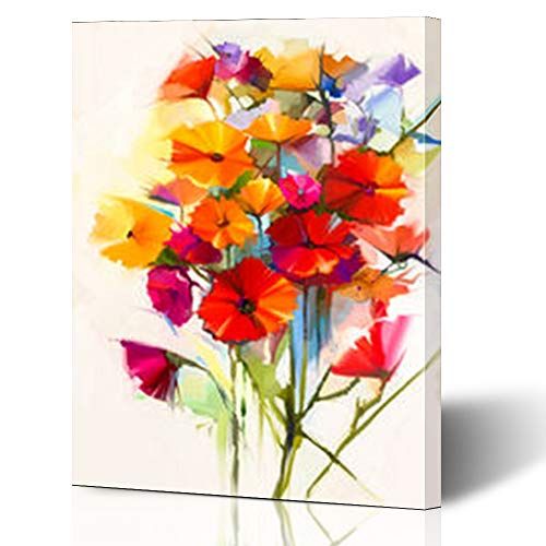 """Krezy Decor Canvas Print Wall Art 16""""x16"""" Abstract Spring Flower Still Life Yellow Pink Red Gerbera Bouquet Color Flowers Painting Light Gray Stretched Artwork Painting Home Decor Living Room Office"""