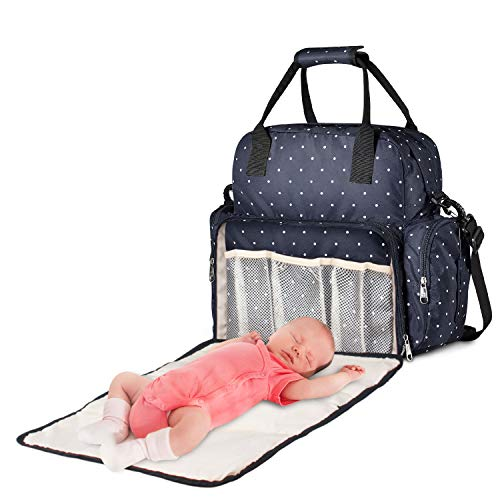 Large Diaper Bag, Chuntianli Baby Nappy Tote Bag Maternity Diaper Shoulder Bag Organizer Multi-Function Travel Backpack with Stroller Strap, Nappy Changing Pad, Insulated Pockets for Mom Dad -