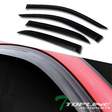 Topline Autopart Smoke Window Visors Deflector Vent Shade Guard 4 Pieces For 03-07 Honda Accord 4 Door Sedan