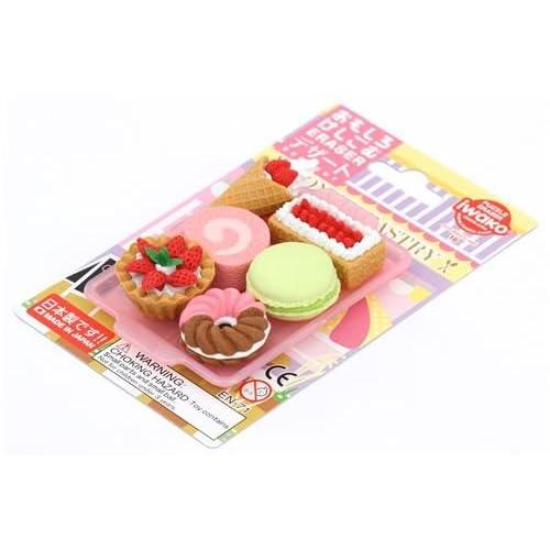 6 gommes Iwako en caoutchouc, gâteau, dessert, beignet
