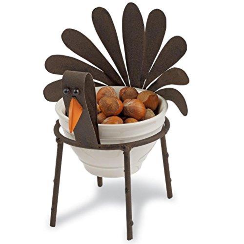 Mud Pie Cast Iron & Ceramic Thanksgiving Turkey Mini Dip Cup, 5.5