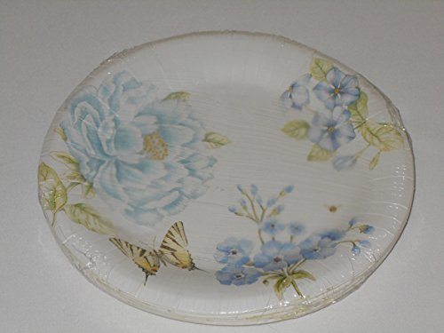 Lenox Butterfly Meadow Blue by CR Gibson Coated Paper Dinner Plates 16 Count