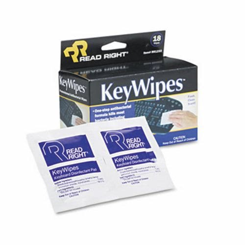 Read Right KeyWipes Keyboard & Hand Cleaner Wet Wipes, 5 x 6 7/8, ()