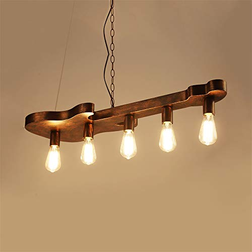 NIUYAO Guitar Shade Bronze Linear Island Lighting, Farmhouse Hanging Ceiling Light Fixture Metal Retro Chandeliers for Restaurant, Kitchen and Bar 511311