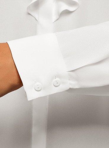 Blanc Tissu en oodji Chemisier 1200n Collection Fluide Femme Volants qwtI7g0