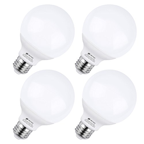 (G25 E26 LED Bulbs, 5 Watt Vanity Light Bulbs, G25 50W Incandescent Globe Bulbs Equivalent, 5000K Daylight White Makeup LED Light Bulbs, Medium E26 Base Non-Dimmable for Home Lighting (Pack of 4))