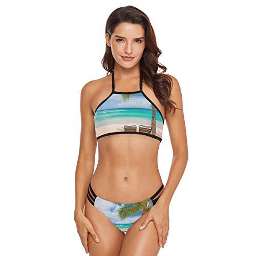 - Hawaiian Beach with Two Lounge Chairs Womens High Neck Halter Bikini Set 2 Piece Swimsuit