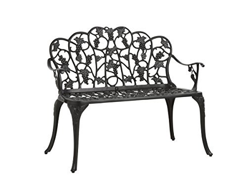 Grapevine Table - Outdoor Grapevine Bench for Yard, Garden, Patio, Powder Coated Cast Aluminum Frame, 2 Person Seat 41.75 W x 20.75 D x 33.5 H - Black