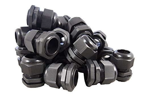 """10 Pack) 1/2"""" Black Nylon Cable Glands Strain Relief With Ga"""