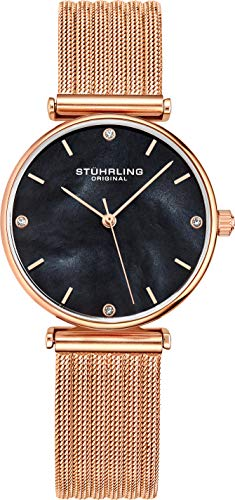 Analog Dial Watch - Stuhrling Original Womens Watch Mother of Pearl Analog Watch Dial, Silver Stainless Steel Braided Mesh 3927 Watches for Women Collection (Rose Gold/Black/Rosegold)