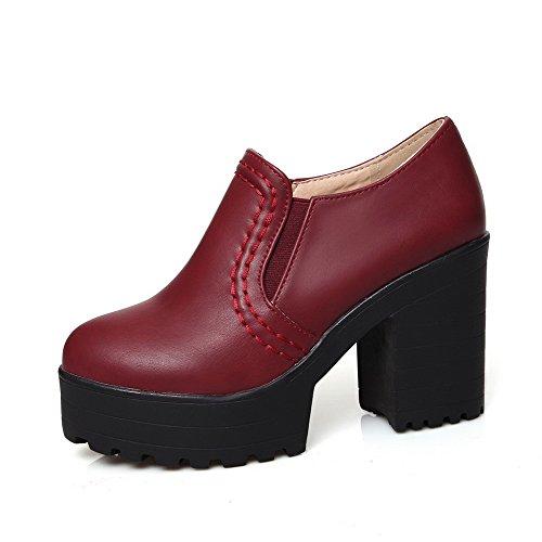 VogueZone009 Damen Ziehen auf PU Leder Rund Zehe Hoher Absatz Rein Pumps Schuhe Weinrot