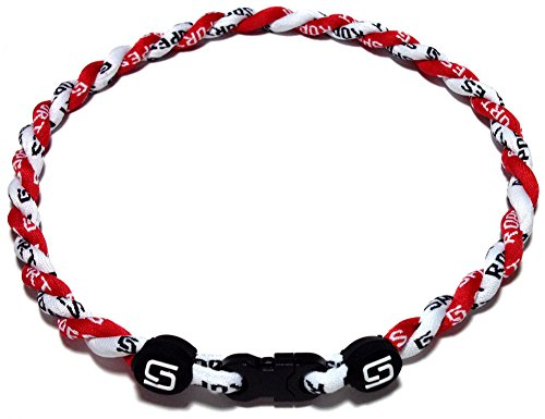 Sport Ropes 2 Rope Titanium Necklace (Red/White, 22