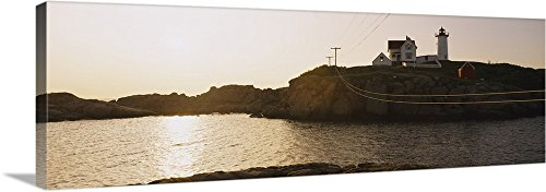 Canvas on Demand Premium Thick-Wrap Canvas Wall Art Print entitled Lighthouse on a hill, Nubble Lighthouse, Cape Neddick, York, Maine (Cape Neddick Lighthouse)