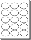 1,500 Label Outfitters Oval White Matte Laser or Inkjet Printable Labels, 2-1/2'' x 1-3/4'' , 100 Sheets
