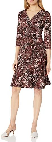 Rekucci Women's Slimming 3/4 Sleeve Fit-and-Flare Crossover Tummy Control D
