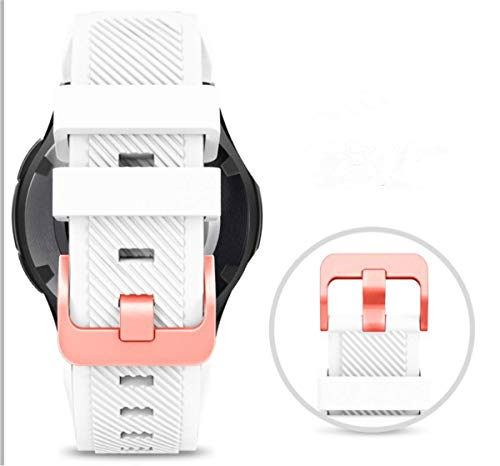 Midenso Bands for Samsung Gear S3 Frontier/Classic Watch Silicone Bracelet Rose Gold Buckle, Sports Silicone Band Strap Replacement Wristband for Samsung Gear S3 Frontier / S3 Classic (White-RGB)